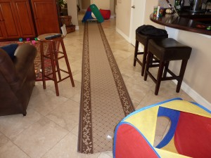 "Carpet runner used for ""Crawl and Match"" My Obstacle Course Station"