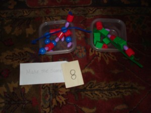 "My Obstacle Course station activity: ""Make the Same"" using pattern beads and pipe cleaner."
